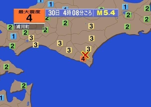 日本北海道5.4級地震