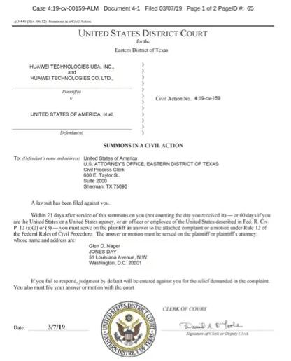 美國法院已向美國政府發傳票