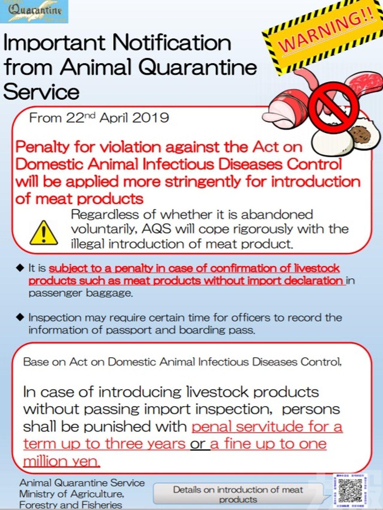 攜肉類入境不申報最高可罰百萬日圓或囚3年