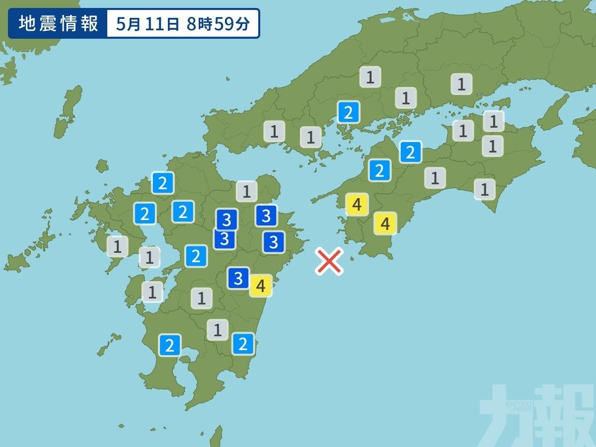 日九州外海再發生4.9級地震