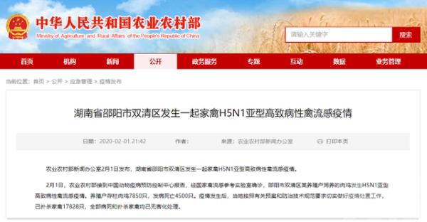湖南邵陽爆H5N1禽流感