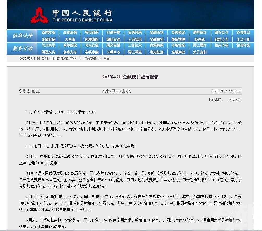 人行:2月新增人幣貸款9,057億元