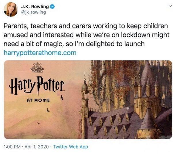 J·K·羅琳設網站提供「魔法支援」