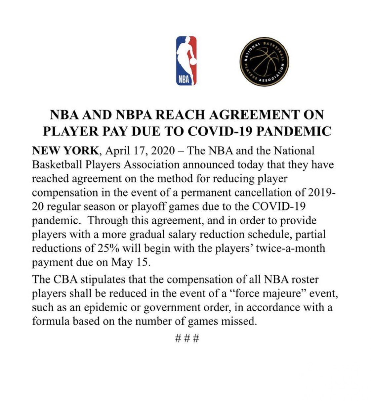 NBA球員5月中開始扣薪25%