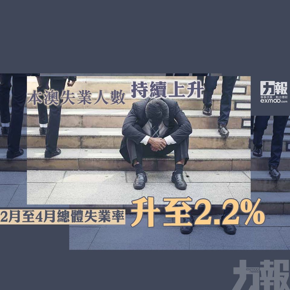 2月至4月總體失業率升至2.2%