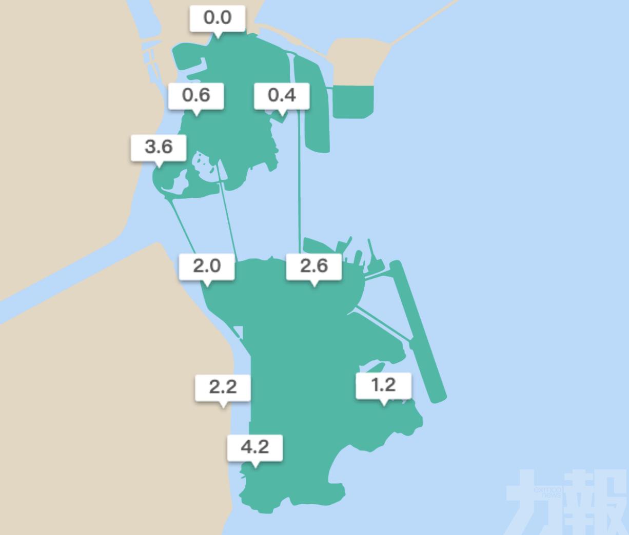 至早上8時大部分地區錄得逾50毫米降雨