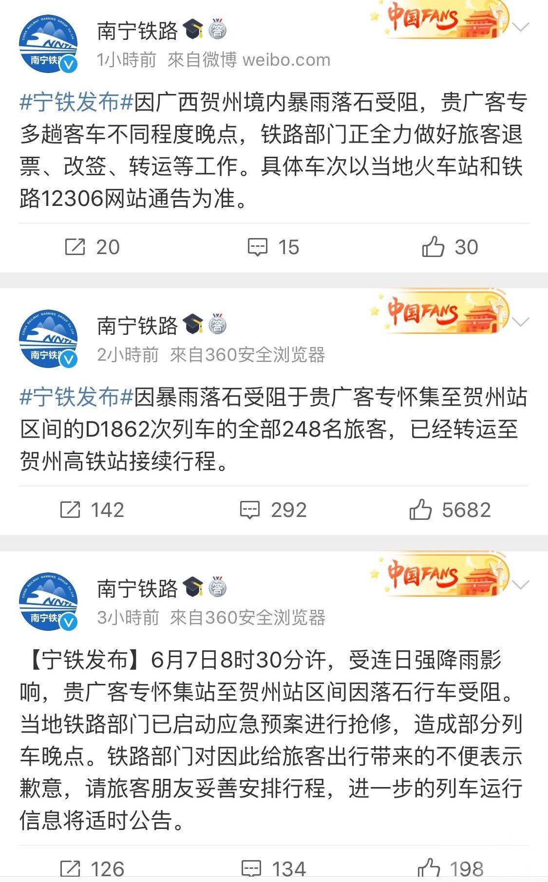 貴廣高鐵列車脫軌輕微翻側 248旅客受阻