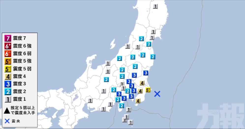 日千葉縣近海發生6.2級地震