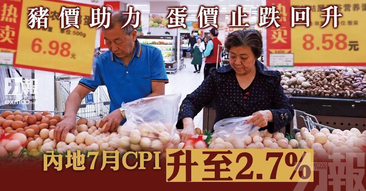 內地7月CPI升至2.7%