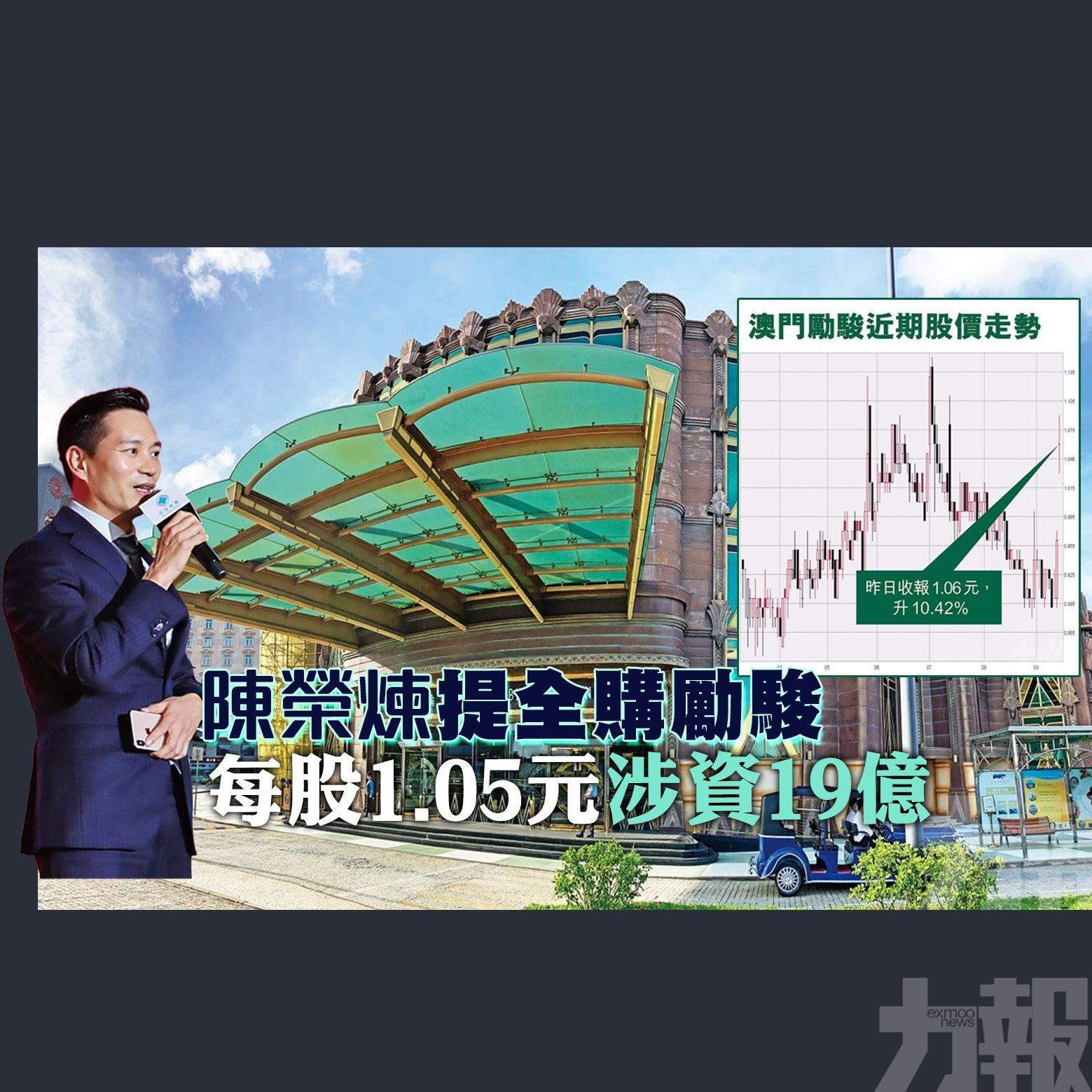 每股1.05元涉資19億