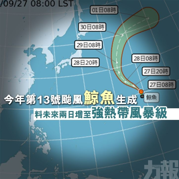 料未來兩日增至強熱帶風暴級
