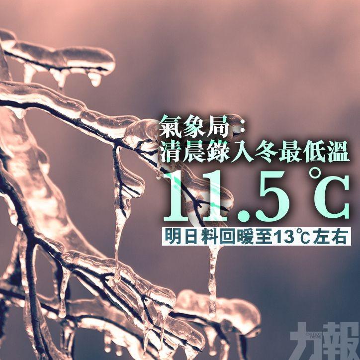 明日料回暖至13℃左右
