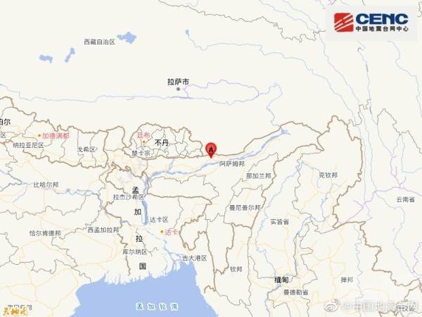 印度東北部發生6.2級地震