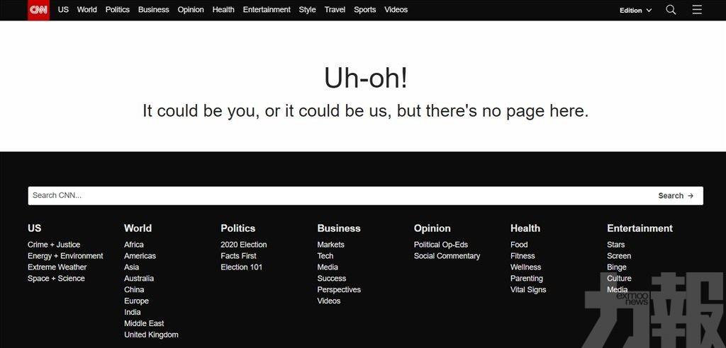 國際媒體網站突然集體死機