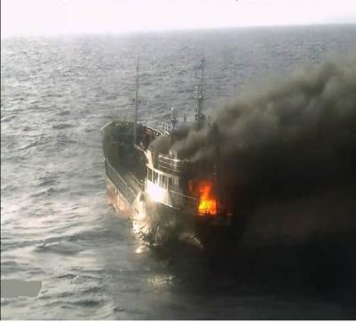放火燒「毒船」焚一噸冰毒