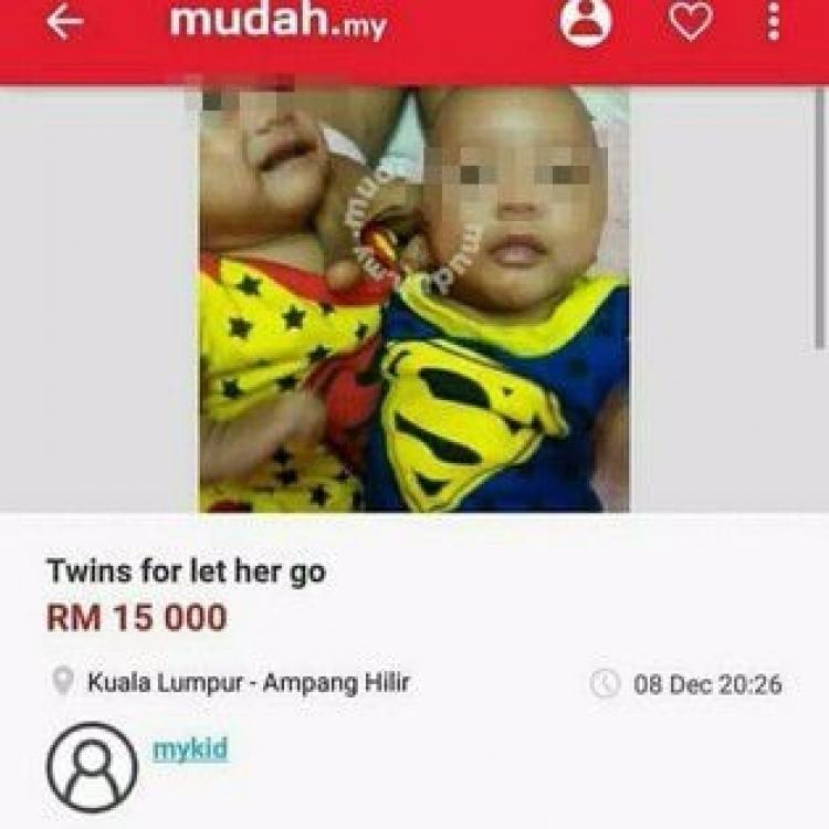 馬國嫩媽誕孖仔 養唔起放上網出售