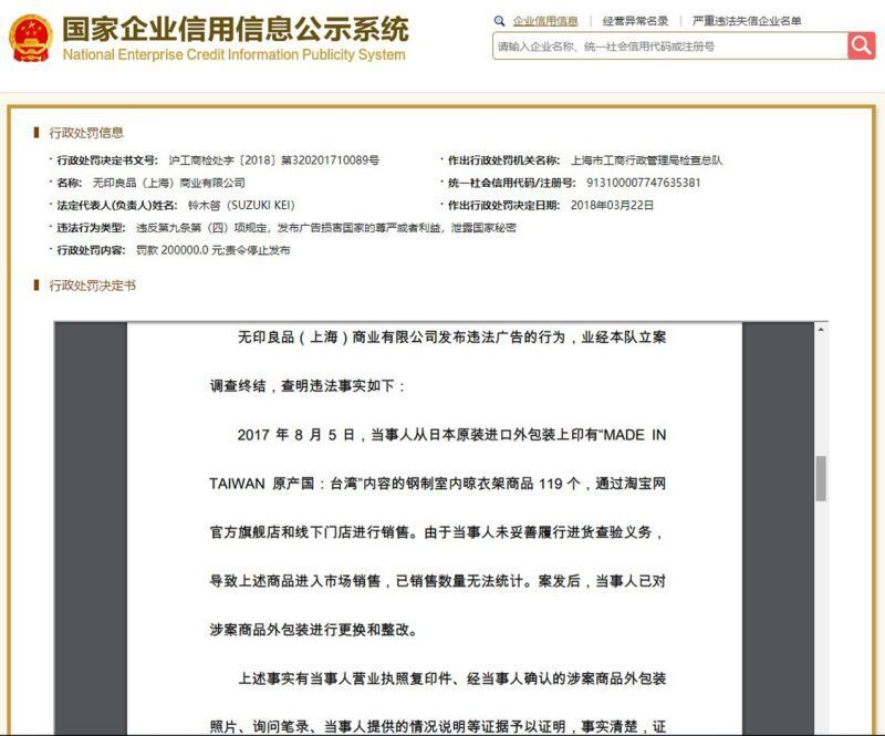 上海無印良品遭罰25萬