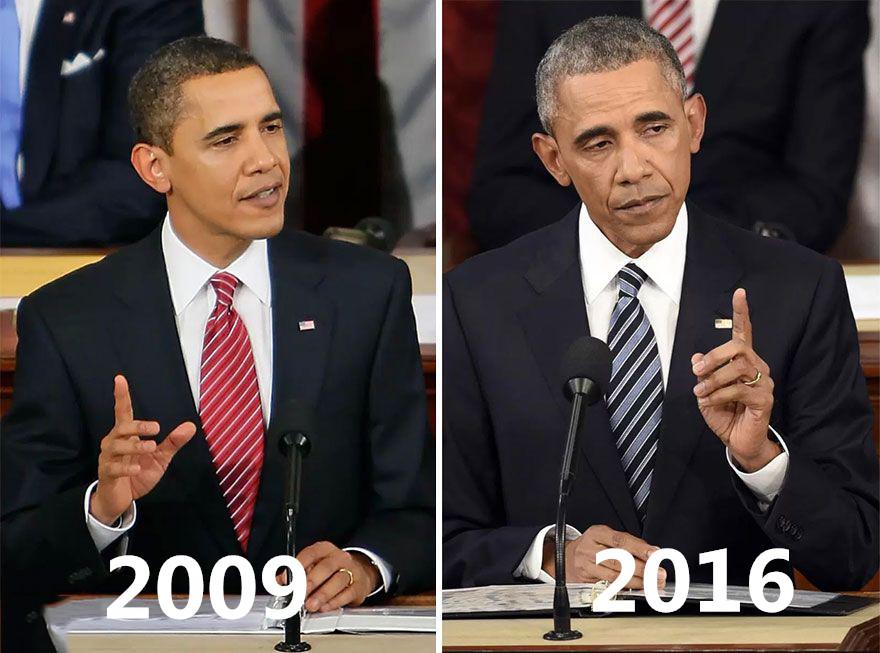 美國總統任期前後對比照