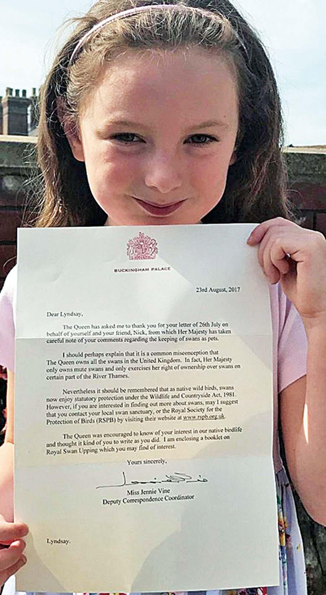 五歲小女孩喜獲回覆