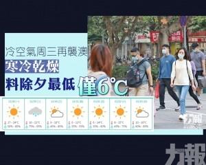 寒冷乾燥 料除夕最低僅6℃
