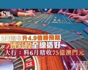 博彩股全線造好  大行:料6月賭收75億澳門元