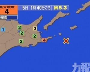 北海道外海發生5.3級地震