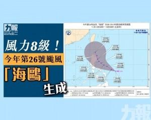風力8級!今年第26號颱風「海鷗」生成
