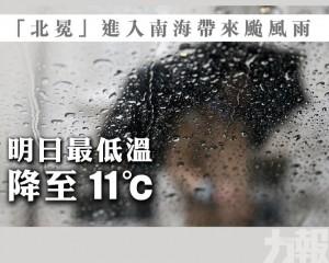 明日最低溫降至11℃