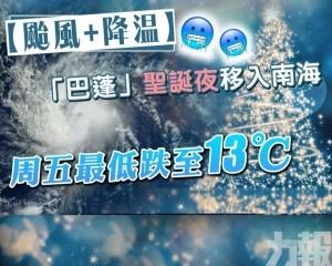 周五最低跌至13℃