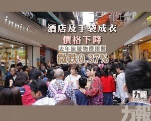 去年旅遊物價指數微跌0.37%