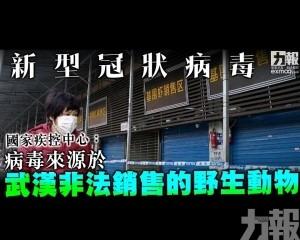 病毒來源於武漢非法銷售的野生動物