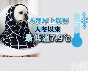本澳早上錄得入冬以來最低溫7.9℃