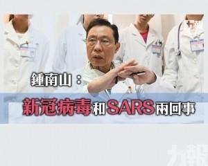 鍾南山:新冠病毒和SARS兩回事