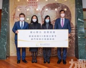 銀娛向珠澳政府捐贈百萬個口罩助抗疫