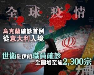 世衞駐伊朗職員確診 全國增至逾2,300宗