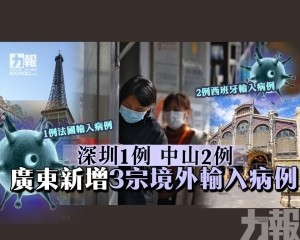 廣東新增3宗境外輸入病例