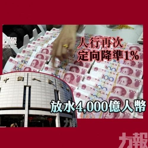 人行再次定向降準1% 放水4,000億人幣
