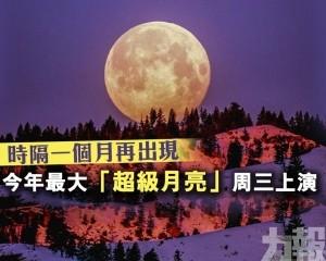今年最大「超級月亮」周三上演