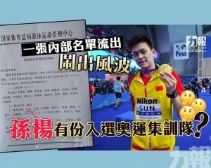 孫楊有份入選奧運集訓隊?