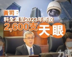 黃司:料全澳至2023年將設2,600支「天眼」