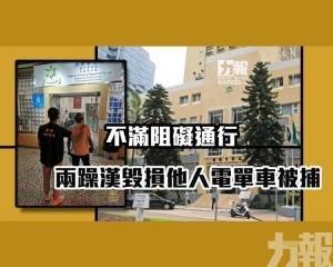 兩躁漢毀損他人電單車被捕