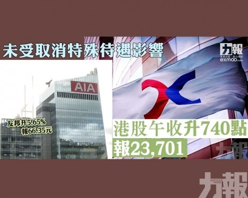 未受取消特殊待遇影響 港股午收升740點報23,701