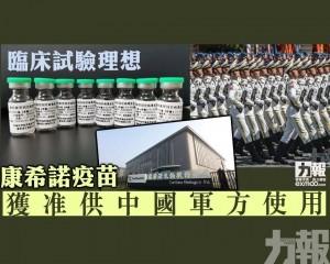 康希諾疫苗獲准供中國軍方使用