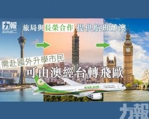 需赴國外升學市民可由澳經台轉飛歐