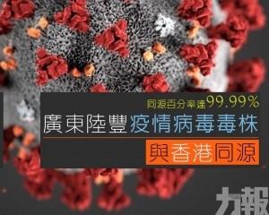 廣東陸豐疫情病毒毒株與香港同源
