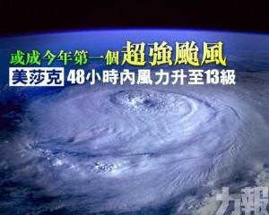 「美莎克」48小時內風力升至13級