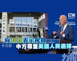 外交部:中方尊重美國人民選擇