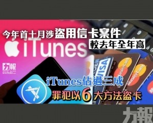 iTunes佔過三成 罪犯以六大方法盜卡