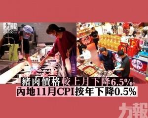 內地11月CPI按年下降0.5%