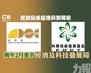 明年2月更名經濟及科技發展局